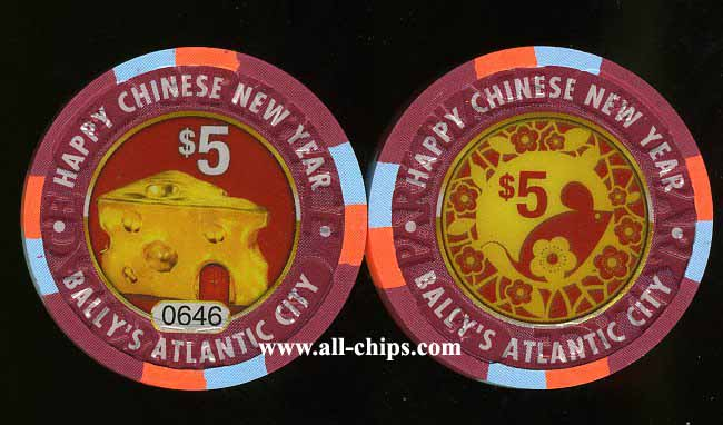 BPP-5n $5 Ballys Year of the Rat 2008