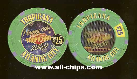 TRO-25d $25 Tropicana Happy 4th of july 2000 Hologram Chip  Great Chip