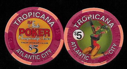 TRO-5x $5 Tropicana Poker Champion Series Trop Poker Club. lot were destroyed by the gamming cm.