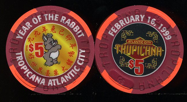 TRO-5t $5 Tropicana Year of the Rabbit 1999 Chineese New Year