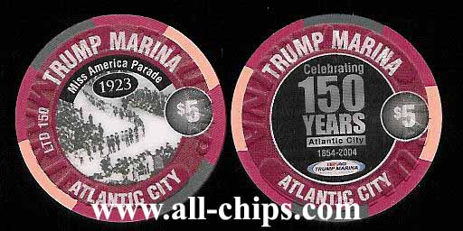 MAR-5ah Trump Marina $5 150th Anniversary chip Very Limited Only(150)