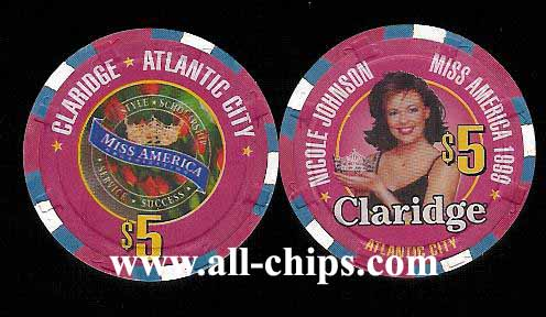 CLA-5u $5 Claridge 1999  Miss America Nicole Johnson