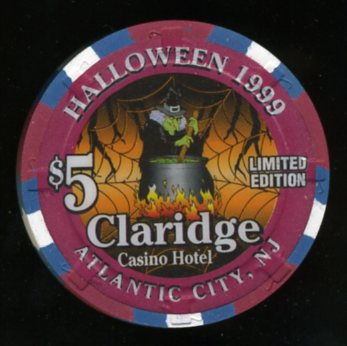 CLA-5v $5 Claridge Halloween 1999 Witch/Web