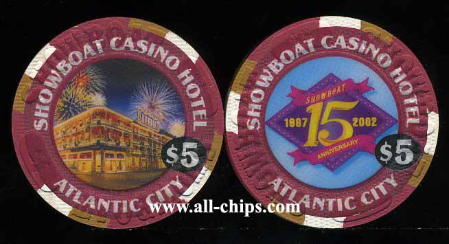 SHO-5b $5 Showboat 15th Anniversary 1987 - 2002
